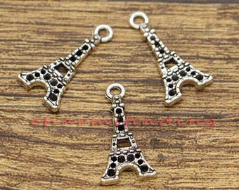 30pcs Eiffel Tower Charms France Charms Antique Silver Tone 21x11mm cf0760