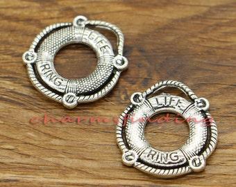 15pcs Life Preserver Charms Life Ring Charm Antique Silver Tone 22x24mm cf0326