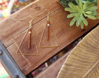 Raw Brass Triangle earrings with Umber