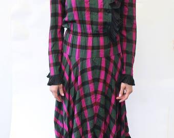 Vintage Balenciaga Ruffle Plaid Dress