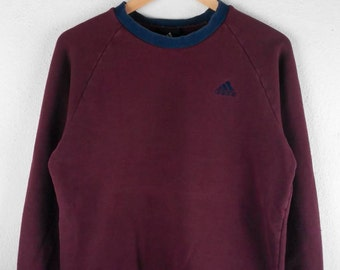 RARE!!! Adidas Equipment Small Logo Embroidery Crew Neck Maroon Colour Sweatshirts Hip Hop Swag L Fit M Size