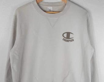 RARE!!! Champion Small Logo Crew Neck Cream Colour Sweatshirts Hip Hop Swag LL Fit L Size