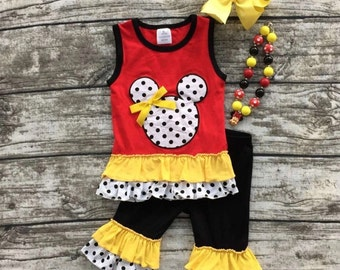 Minnie Mickey Mouse Embroidered Red White Yellow Polka Dot Ruffle Boutique Outfit Capris Set Disney World