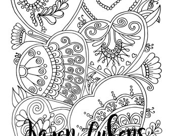 """Valentine's- """"Sugar Cookies"""", 1 Adult Coloring Book Page, Printable Instant Download"""