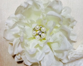 White silk flower with pearls and rhinestones hair clip