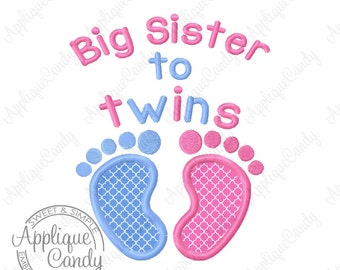 Big Sister to twin Baby Feet Applique Machine Embroidery Design Digital File 4x4 5x7 6x10 7x12 INSTANT DOWNLOAD