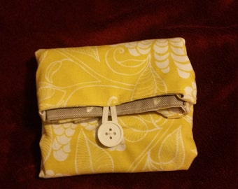 Reversible handmade market/carry-all tote bag-Yellow flowers and Greg feathers