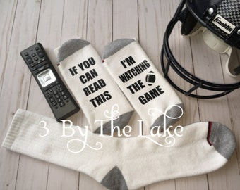 """Men and Women's  """"If You Can Read This, I'm Watching the Game"""" Funny Personalized Football Socks"""