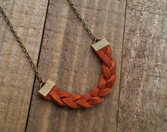 Braided Leather Pendant Necklace - Handmade Leather Necklace by LittleMillieShop