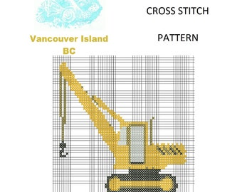 Truck Cross Stitch Pattern, Cross Stitch Patterns, Counted Cross Stitch, Crane Pattern XStitchEverything, Cross Stitch Crane