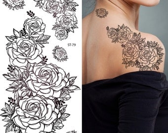 Supperb Temporary Tattoos - Hand Drawn Black & White Roses