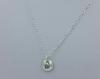 Handcrafted Solid Sterling Silver and Domed Initial Necklace