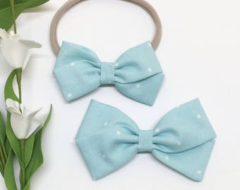 Blue Baby Headband - Light Blue - Baby Headband - Clip or Headband