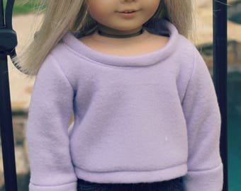 "18"" Doll Pullover Oversized Lilac Sweater"