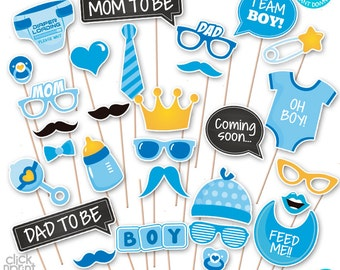Baby Shower Print Yourself Photo Booth Props - Baby Shower Printable Photo Props Set - It's a Boy Photobooth -  Baby Blue Baby Shower