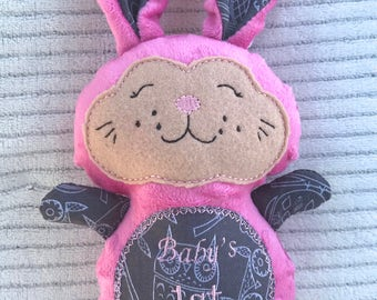 Pink Easter Bunny, Stuffed Easter Bunny, Pink Stuffed Bunny, Girl Stuffed Bunny, Stuffed Bunny, Easter Gift, Easter Basket Gift