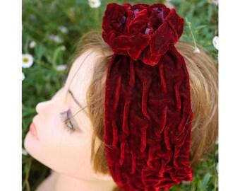 Turbante fiore/stile gipsy, gitano/Fascia rosso porpora/copricapo costume da danza/costume,accessori capelli/berlusque