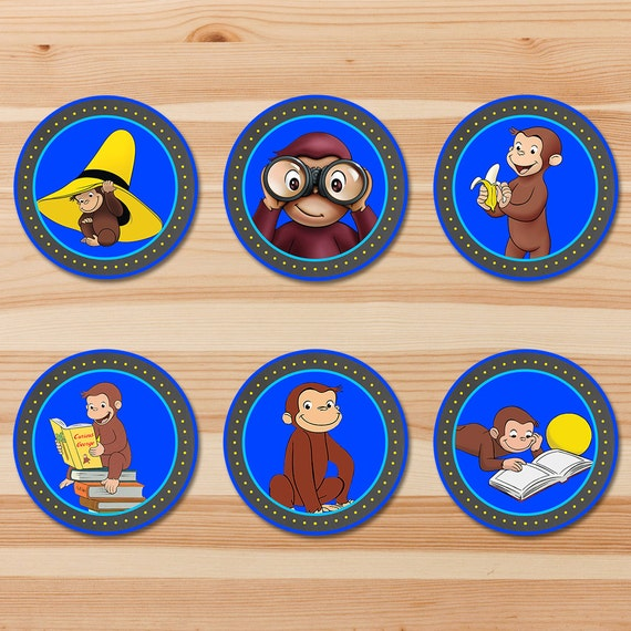 Curious George Birthday Cupcake Toppers - Blue Chalkboard - Boy Curious George Stickers - Curious George Party - Curious George Printables