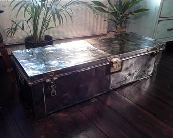 Vintage stripped/polished early 20th Century Military Trunk