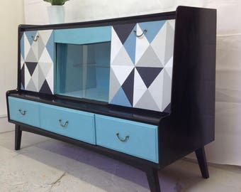 Upcycled drinks cabinet, vintage, geometric, midcentury modern,