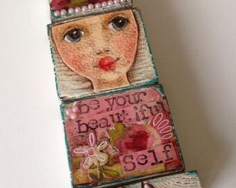 Wood blocks Art Doll Collage mixed media Original Painting