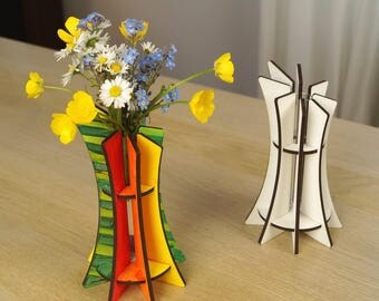 "Vase design wooden ""Slicy"" to decorate - white"