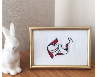 Kissing with Toungue framed embroidery