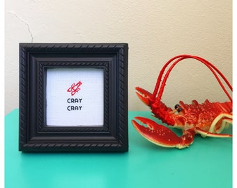 Cray Cray Lobster Cross Stitch in Frame