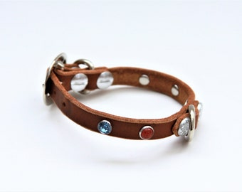 XX-Small Cat Collar Genuine Leather (Chestnut) 9''