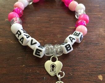 Rave Bae // Festival Rave Kandi Charm Bracelet // with heart lock and key charm