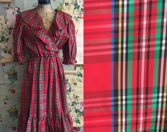 Vintage 1970s Plaid Acetate Maggee O Dress. Medium/Large. Ruffle, red, green, blue, tartan