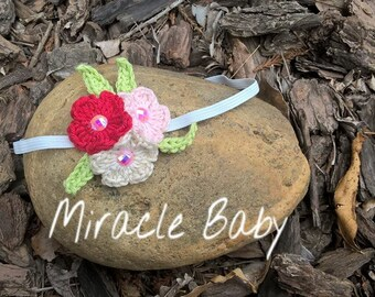 crochet baby headband, crochet flower headband, newborn headband, crochet baby hair accessory