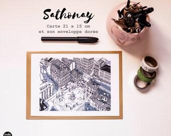 "Grande carte postale ""Sathonay "", Big Postcard ""Sathonay"", Carte de voeux, greeting card"
