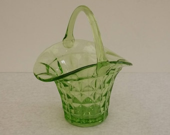 Shabby Green Depression Glass basketball, Ice Bucket. Vintage basket cut glass green Depression, ice, Decorative candy bucket