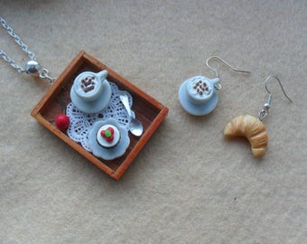 Dollshouse miniatures in polymer clay necklace Italian breakfast croissant cappuccino