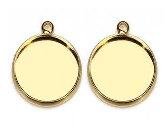 20pcs 10-20mm Gold Plated bezel Pendant trays , setting Jewelry findings