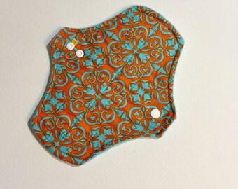 8 inch PantylinerCloth Pad/Mama Cloth/Rumps in Orange and Aqua Mosaic Design