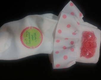 Meloney's Design handmade girls pink and white6-8 socks
