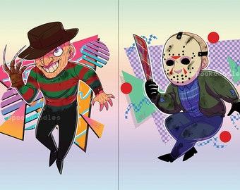 """5""""x7"""" Freddy Krueger + Jason Voorhees 80s Prints"""