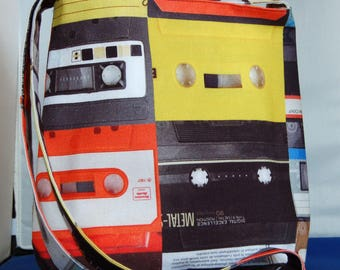 Women's Shoulder Bag Large Hipster Bag Handmade Retro Cassette Tape