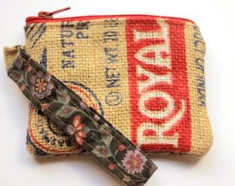 Small Upcycled Wristlet, Boho Clutch, Fair Trade Small Purse, Burlap Wristlet, Made in NC, upcycled wallet, rice bag wallet, zipper bag