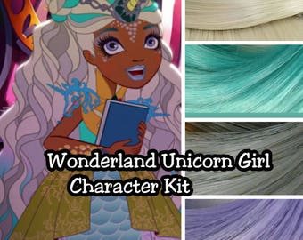 Ever After High Way Too Wonderland Unicorn Girl  Re-root Pack Nylon Hair Blonde Teal Gray Purple Kit to make your own OOAK Doll INTL SHIP