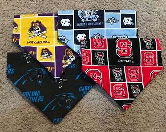 North Carolina dog bandanas (ECU, State, UNC, Panthers)