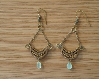 Handmade macrame earrings with chrysophrase stone and brass