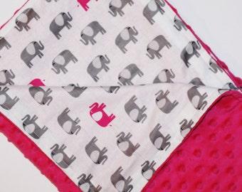 Hot Pink Elephant Blanket, Hot Pink Minky, Gray and White Elephant Blanket, Pink Elephant Blanket, Pink Nursery, Dark Pink Baby Blanket