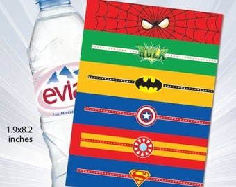 SUPERHERO water bottle labels - available- Baby Onesie  water bottle. Party Decorations. super hero water bottle labels