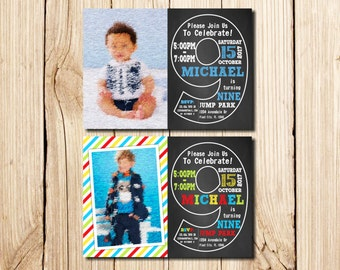 9th Birthday Invitation, with Picture, ninth Birthday Invitation, Boy, Сhalkboard, 9th birthday invitations Boy, Man, with Picture, nine