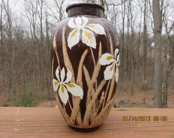 Vintage Art Nouveau Vase with Flower Decor Irises