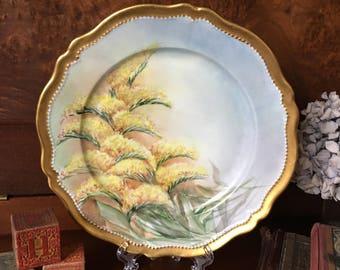 Antique Hand Painted Floral Porcelain Plate O&EG Royal Austria - Home Decor - Early 1900s