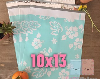 20/30/40 pcs 10x13 Teal Flower Poly Mailers